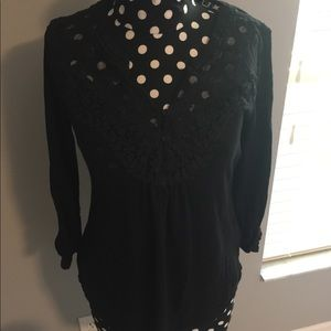 Meadow Rue Henley Black with lace like new